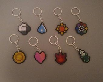 Pokémon beads pixel art Kanto Badges Keyring - Portachiavi medaglie di Kanto