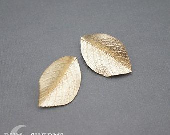 0131 - Pendant Connector, Matte Gold, Realistic Leaf Texture Pendant, 2 Pieces