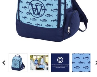 Monogrammed School Backpack