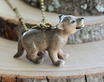 Hand Painted Coyote Pup Necklace, Antique Bronze Chain, Vintage Style Wolf Ceramic Animal Pendant & Chain (CA169)