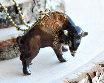 Hand Painted Porcelain Brown Buffalo Necklace, Antique Bronze Chain, Vintage Style Bison, Ceramic Animal Pendant & Chain (CA268)