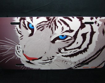 TIGER METAL Novelty License plate For cars eyes of the tiger white bengal tiger