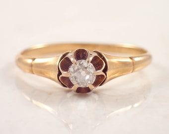 14K Yellow Gold Antique Diamond Ring