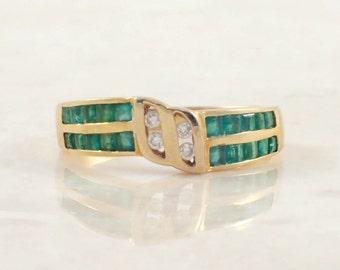 18K Yellow Gold Emerald and Diamond Band