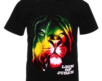 "Rasta Dreadlock Main ""Lion of Judah"" Striking Artwork Tshirt Tee Shirt Top RM02T"
