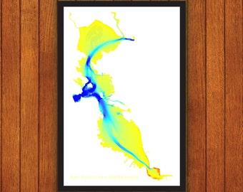 San Francisco Bay Bathymetry, SF Map Print