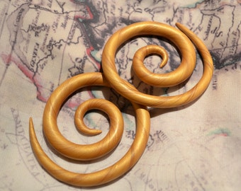 Super Gold Spirals, Earrings for Stretched Lobes - Gauges