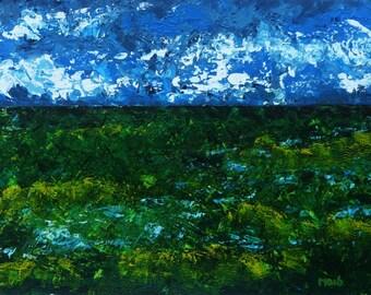 Acrylic Painting, Original Landscape, Impressionist Art, Acrylic Landscape Art, Acrylic Wall Art, Green Landscape, Textured Art, Horizon Painting