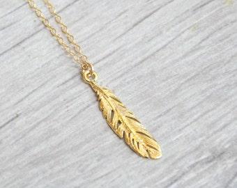 Gold necklace, Feather necklace, unique necklace, gold filled necklace, delicate necklace, style, feather pendant