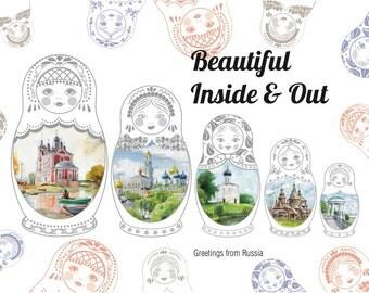 Travel Postcard from Russia Nesting Dolls Matryoshkas