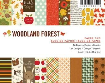 Woodland Forest Paper Pad - Pebbles Paper Pad - Woodland Forest 6x6 - 6 x 6 - Woodland Forest - Woodland Forest Cardstock - Scrapbook Paper