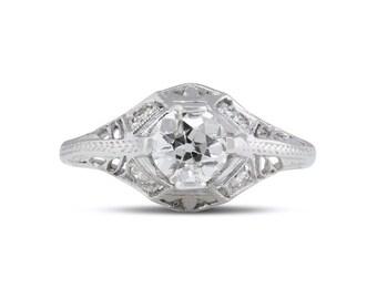 14K White Gold Diamond Wedding Ring, Art Deco Diamond Engagement Ring, 14K White Gold, Vintage 1950's Diamond Ring