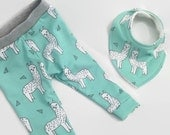 Mint llama Alpaca, leggings with matching bib, baby leggings, unisex baby clothes, tights
