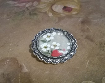 White and Pink Flowered Handkerchief Brooch
