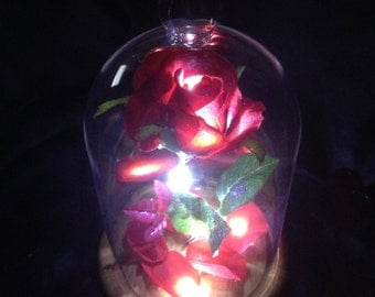 ENCHANTED ROSE Beauty & the Beast Belle Prop/Light/Valentine/Fairytale/Wedding