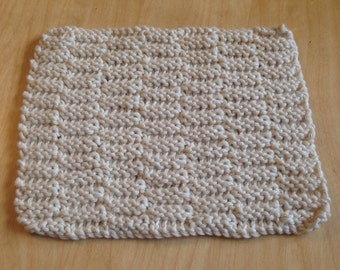 Handmade knitted dish cloth, 100% cotton, cream