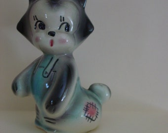 Grey Cat with Overalls-Coin Bank