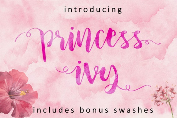 Princess Ivy - Handwritten and watercolor font download. Calligraphy ...