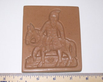 Santa on Donkey Springerle Mold for Cookies, Confections and Crafts; Gingerbread Marzipan Beeswax Paper Castings Wax Castings Ornaments