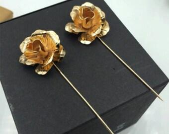 Gold Lapel Flower,Boyfriend Gift Men's Gift Anniversary Gift for Men Husband Gift Wedding Gift For Him Groomsmen Gift for Friend Gift Ideas