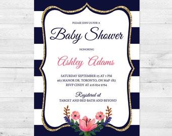 Baby Shower Invitation Girl, Floral Baby Shower Invitation, Pink And Gold Baby Shower Invitation, Watercolor Invitation