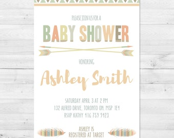 Tribal Baby Shower, Gender Neutral Baby Shower Invitation, Boy Baby Shower Invitation, Girl Baby Shower, Arrow, Fall Baby Shower Invitation