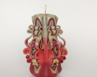 Carved candle Decorative candle Candles Unique candle Artisanal candle Gift idea for her Home decor Red candle