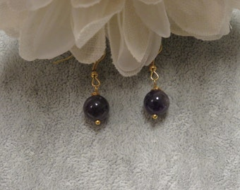 Amethyst Stone Earrings with Gold Ear Wires