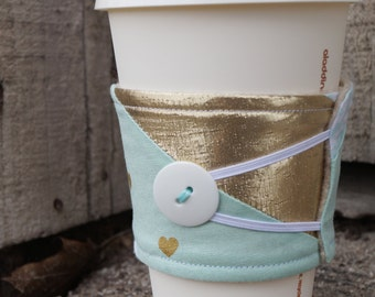 Reusable Coffee Cup Cozy ~*Teal and Gold Hearts*~