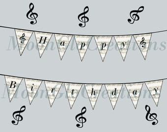 Sheet music, musical note, 'Happy Birthday'  Banner, Printable download
