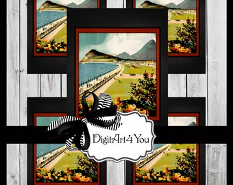 Digital collage/Travel/Tourist/Ireland/Irish/Green/Lucky/Four Leaf Clover/Shamrock/Digital Download/Vintage Art/Supplies/Inchies/Dominoes