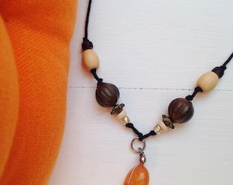 Orange Handmade Beaded Necklace