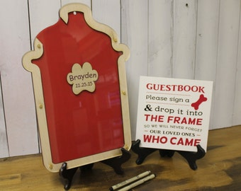 Fire Hydrant Guest Book/Birthday Party/Child Dog Theme/Wood