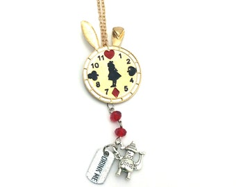 """Drink Me Alice in Wonderland Inspired Glass Beaded Charm 23"""" Chain Necklace Gold Tone"""