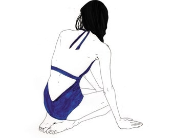 print illustration, swimmer blue Jersey