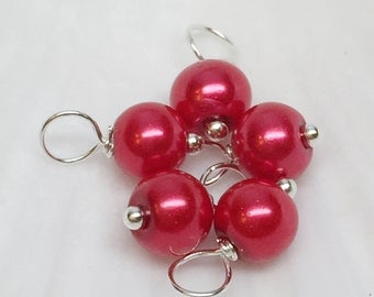 Pearl dangle beads, red dangle charms, beaded dangles, glass pearl dangle beads, dangle charms, pearl dangles, pearl bead charms,