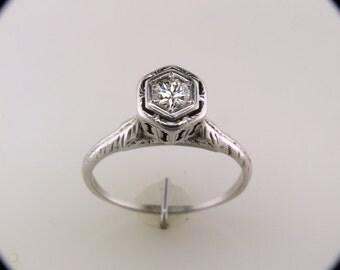 Vintage Antique .35ct Old European Cut Diamond Art Deco 14k White Gold Engagement Ring