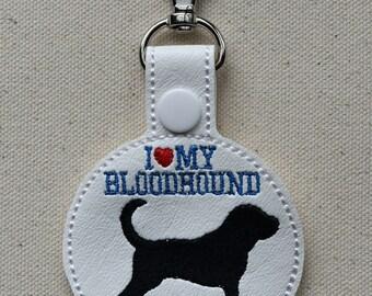 I Love My Bloodhound, Dog Key Fob, Favorite Dog Breed Keychain, Dog Lover Gift