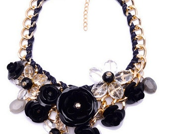 SALE + FREE SHIPPING! Black Rose Necklace