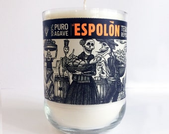 Upcycled Espolón Tequila Reposado Bottle Candle, Handmade, Tuberose Scent
