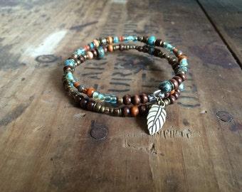 Turquoise Boho- Beaded Bracelet, Memory Wire Bracelet, Bohemian Bracelet