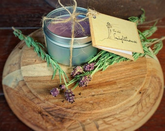 Lavender Field Scented Premium Natural Soy Wax Container Candle In Medium Clear Lid Metal Travel Tin - 6oz - 100g