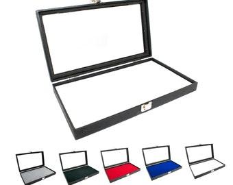 novel box glass top black jewelry display case white slot display