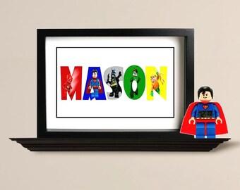 Personalized Lego Superhero Name Art, Digital File, Boy, Girl, Child Room Décor, High Resolution – 1 price