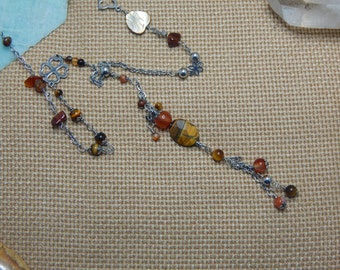 Necklace agate Tiger eye