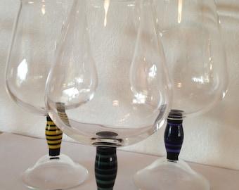 Wine glasses with striped stem
