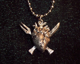 """Anatomical """"Eat Your Heart Out"""" Necklace Charm, Hand Sculpted Cast Pewter Jewelry, Pendant, Fantastically Unique"""