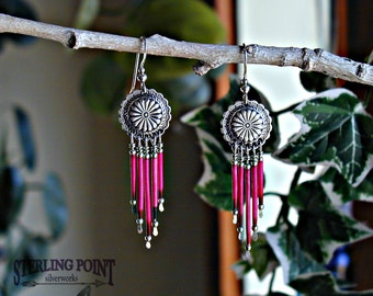 Porcupine Quill Earrings. Sterling Silver Dangle Earrings. Dyed Porcupine Quills. Fuchsia Dyed Quills with Silver Conchos. Unusual Gift Item