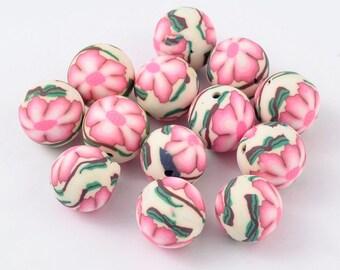 20 Handmade 14mm Round Polymer Clay Beads Flower Pattern (B34b)