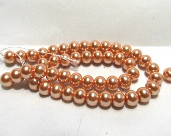 1 Strand 10mm  Glass Pearl Rondelle Beads Dusty Orange (B59)